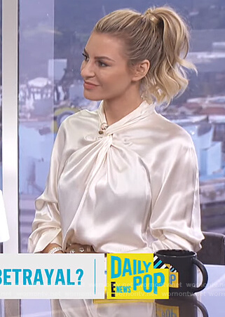 Morgan's white satin twist neck blouse on E! News Daily Pop