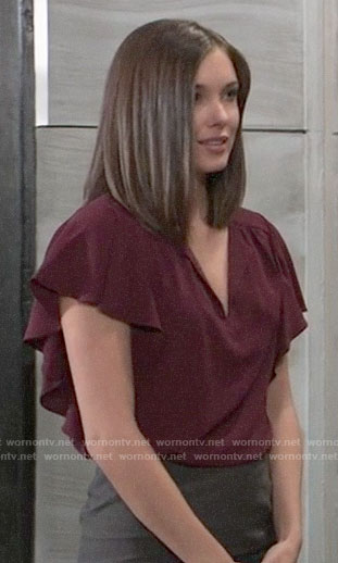 Willow's burgundy flutter sleeve top on General Hospital