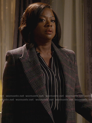 Annalise's gray plaid double breasted coat on How to Get Away with Murder