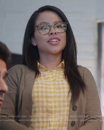 Mariana's yellow gingham print shirt on Good Trouble