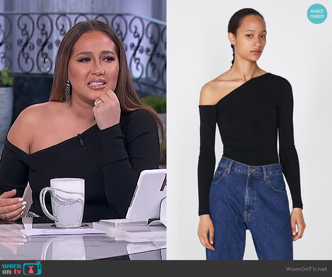 Knit Top with Asymmetric Neckline by Zara worn by Adrienne Houghton  on The Real