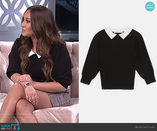 Sweater with Contrasting Collar by Zara worn by Adrienne Houghton  on The Real