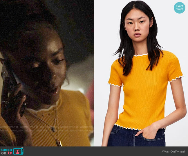 Zara Sweater with Contrasting Scalloped Trims worn by Josie McCoy (Ashleigh Murray) on Riverdale