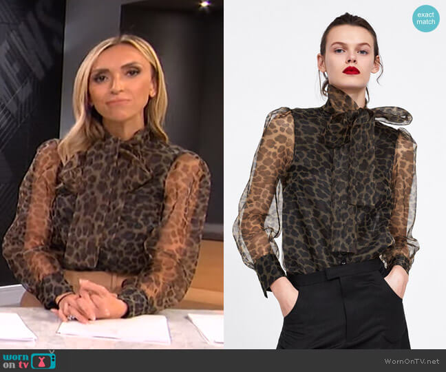 Animal Print Blouse with Tie by Zara worn by Giuliana Rancic  on E! News