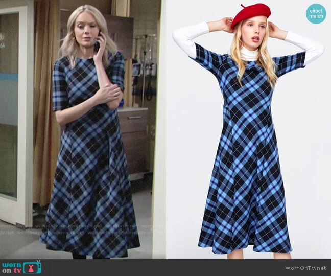 Zara Check Print Dress by Zara worn by Abby Newman (Melissa Ordway) on The Young & the Restless