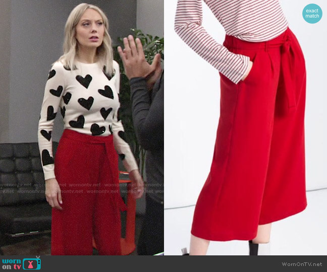 Zara Cropped Flowing Culottes worn by Abby Newman (Melissa Ordway) on The Young & the Restless