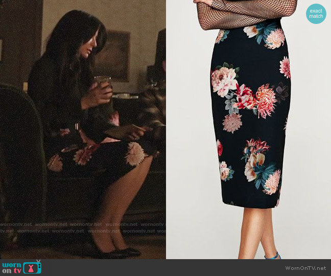 Zara Floral Pencil Skirt worn by Hermione Lodge (Marisol Nichols) on Riverdale