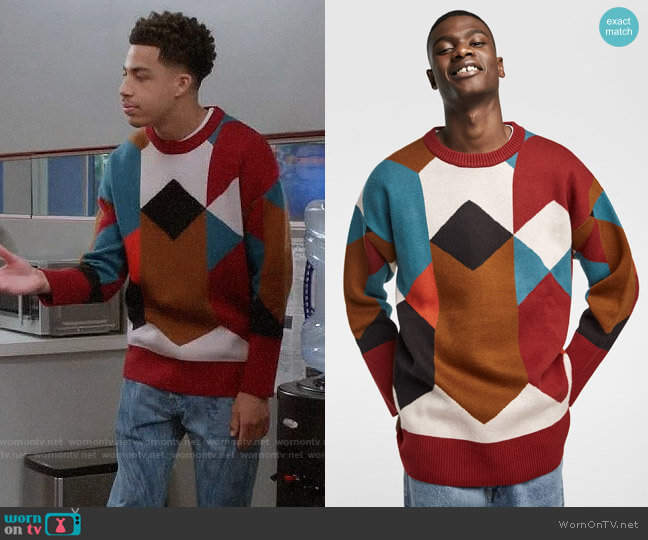Zara Geometric Jacquard Sweater worn by Andre Johnson Jr (Marcus Scribner) on Blackish
