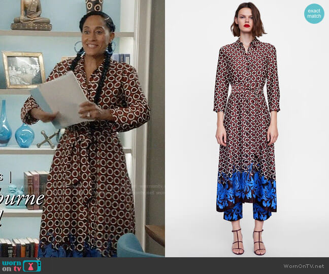 Zara Geometric Print Tunic worn by Rainbow Johnson (Tracee Ellis Ross) on Blackish