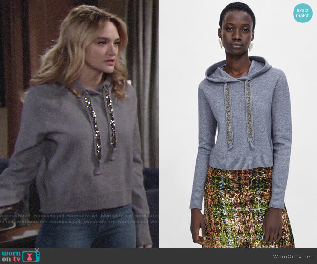 Zara Knit Sweatshirt with Sparkly Stripes worn by Summer Newman (Hunter King) on The Young & the Restless