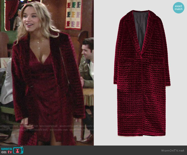 Zara Long Quilted Coat worn by Summer Newman (Hunter King) on The Young & the Restless