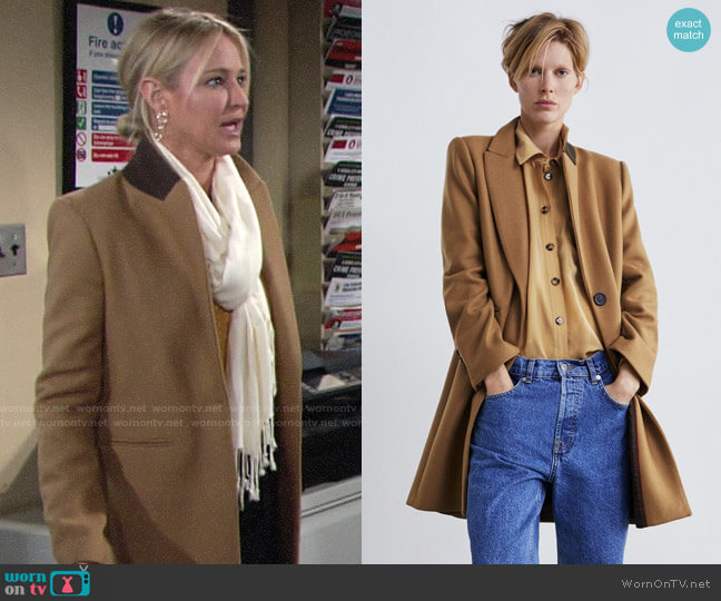 Zara Masculine Coat worn by Sharon Collins (Sharon Case) on The Young & the Restless