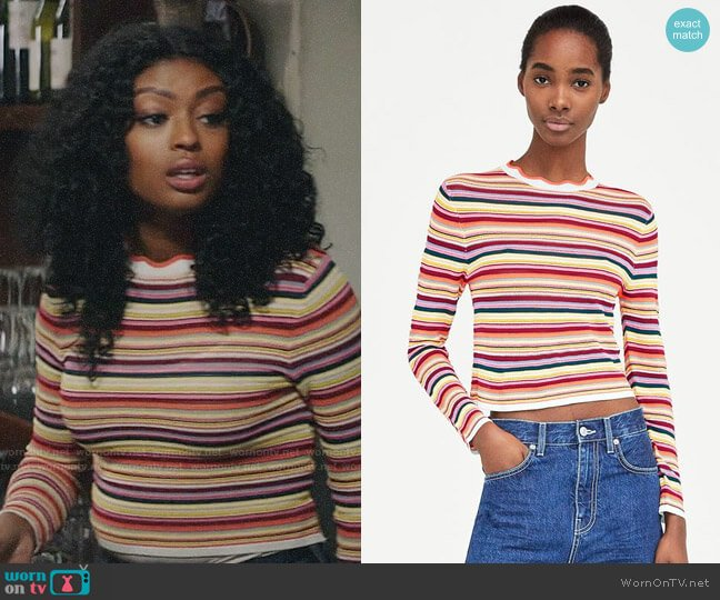 Zara Multicolored Striped Sweater worn by Ali Finer (Javicia Leslie) on God Friended Me