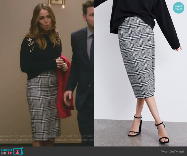 Plaid Pencil Skirt by Zara worn by Jo Wilson (Camilla Luddington) on Greys Anatomy