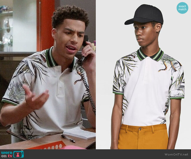 Zara Printed Polo with Rib Trim worn by Andre Johnson Jr (Marcus Scribner) on Blackish