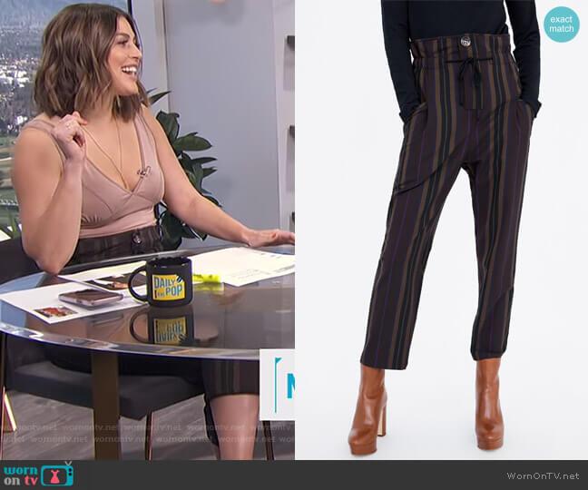 Striped Print Pants by Zara worn by Carissa Loethen Culiner  on E! News