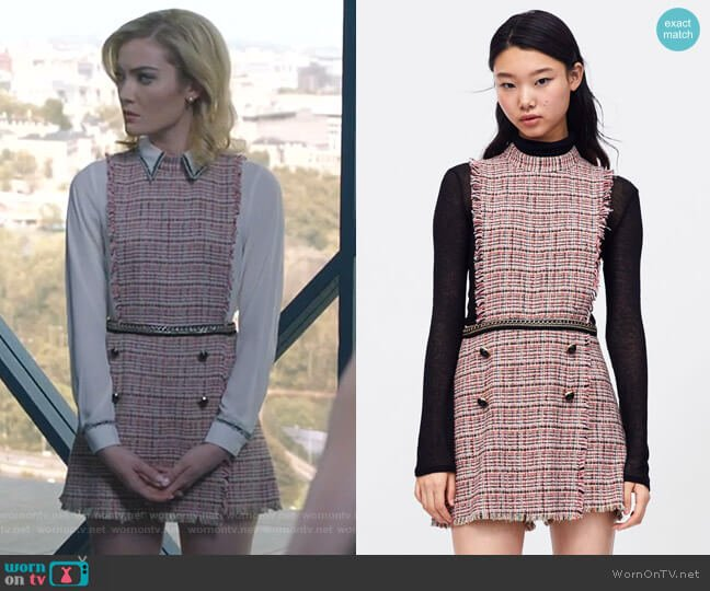 Tweed Jumpsuit with Chain by Zara worn by The Frost Sisters (Skyler Samuels) on The Gifted
