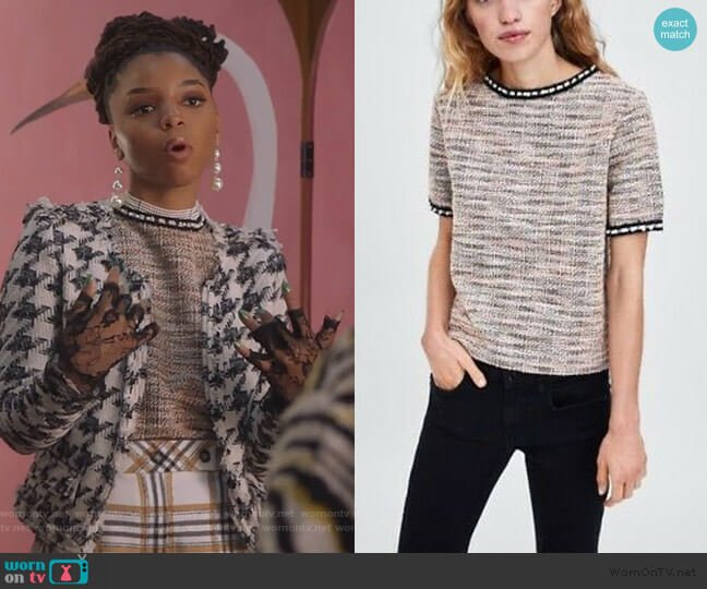 Tweed Pearl Trim Neckline Top by Zara worn by Jazlyn Forster (Chloe Bailey) on Grown-ish