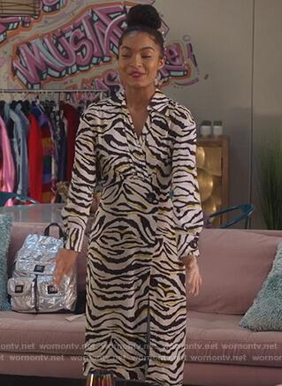 Zoey's zebra striped dress on Grown-ish