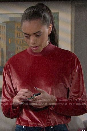 Zoe's red velour sweater on The Bold and the Beautiful