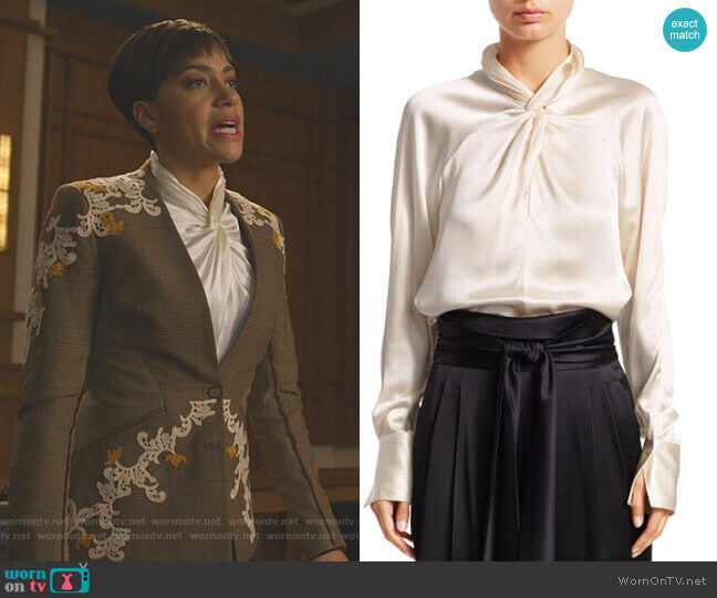 Twisted Silk Blouse by 3.1 Phillip Lim worn by Lucca Quinn (Cush Jumbo) on The Good Fight