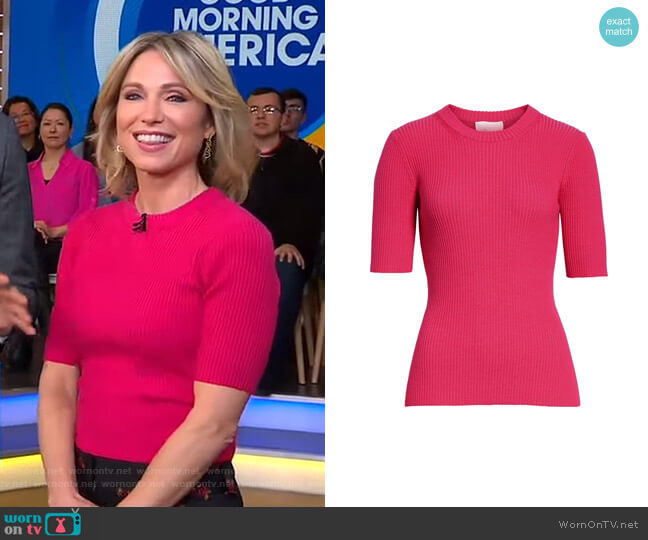 Ribbed Short Sleeve Sweater by 3.1 Phillip Lim worn by Amy Robach (Amy Robach) on Good Morning America
