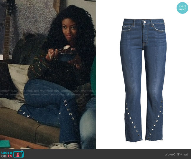 7 For All Mankind Edie Cropped Straight-Leg Jeans w/ Grommets worn by Ali Finer (Javicia Leslie) on God Friended Me
