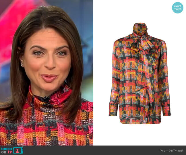 Removable Scarf Blouse by Adam Lippes worn by Bianna Golodryga  on CBS This Morning