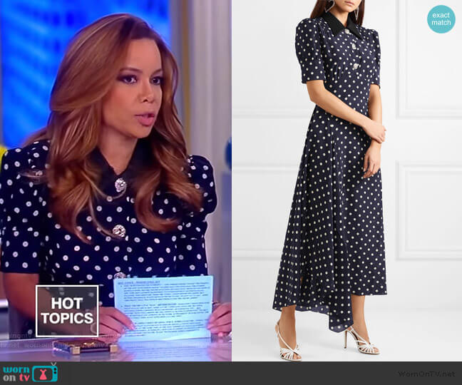 Polka dot silk dress by Alessandra Rich worn by Sunny Hostin  on The View