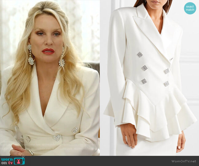 Crystal-Embellished Satin-Trimmed Peplum Blazer by Alessandra Rich worn by Alexis Carrington (Elaine Hendrix) on Dynasty