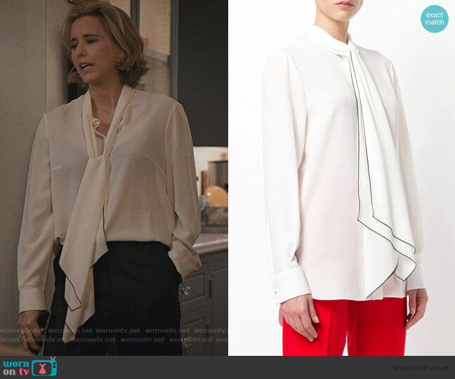 Tied Neck Blouse by Alexander McQueen worn by Elizabeth McCord (Téa Leoni) on Madam Secretary