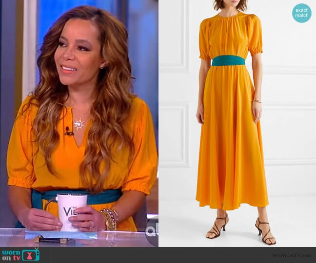 Brooke silk crepe de chine midi dress by Aross Girl X Soler worn by Sunny Hostin  on The View