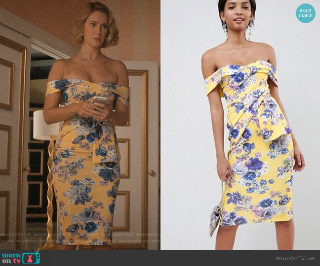 ASOS DESIGN Bardot Fold Wrap Front Midi Dress in Print worn by Petra Solano (Yael Grobglas) on Jane the Virgin