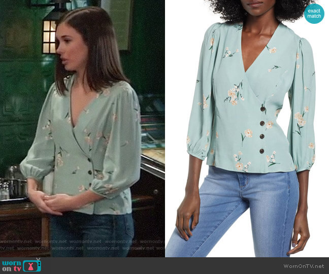 ASTR Button Wrap Top worn by Willow Tait (Katelyn MacMullen) on General Hospital