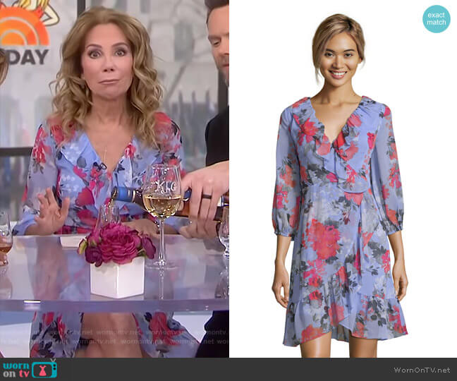 Floral Faux Wrap Dress with Three Quarter Sleeves by Adrianna Papell worn by Kathie Lee Gifford (Kathie Lee Gifford) on Today