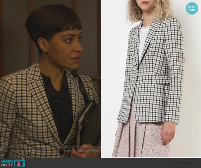 check print blazer by Akris Punto worn by Lucca Quinn (Cush Jumbo) on The Good Fight