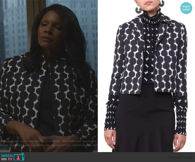 Punto Dot Lace Cropped Jacket by Akris Punto worn by Liz Reddick-Lawrence (Audra McDonald) on The Good Fight