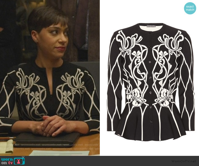Floral Knit Cardigan by Alexander McQueen worn by Lucca Quinn (Cush Jumbo) on The Good Fight