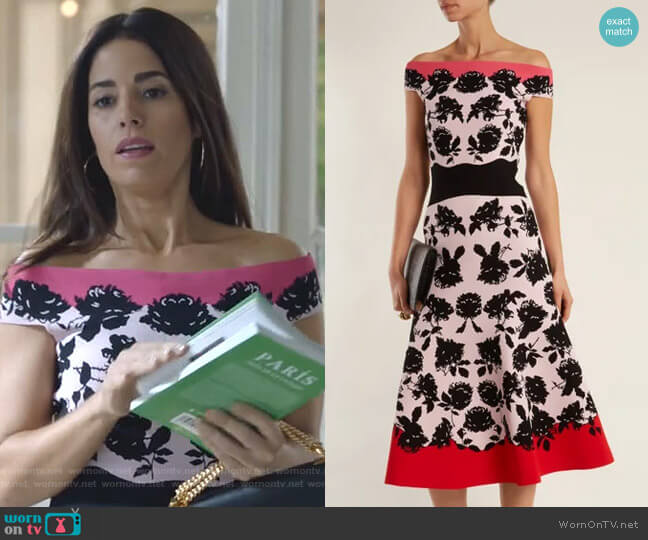 Rose-Intarsia Off-The-Shoulder Knit Dress by Alexander McQueen worn by Susan Sampson (Ana Ortiz) on Whiskey Cavalier
