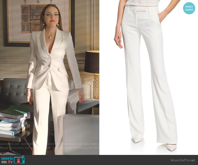 Leaf Crepe Classic Suiting Pants by Alexander McQueen worn by Fallon Carrington (Elizabeth Gillies) on Dynasty