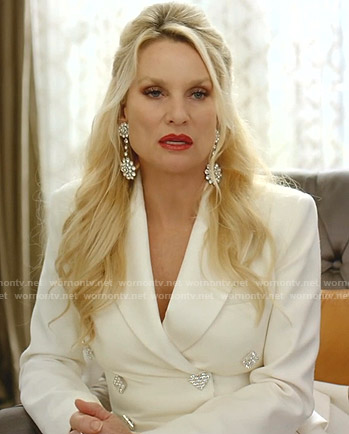 Alexis's white crystal embellished blazer on Dynasty