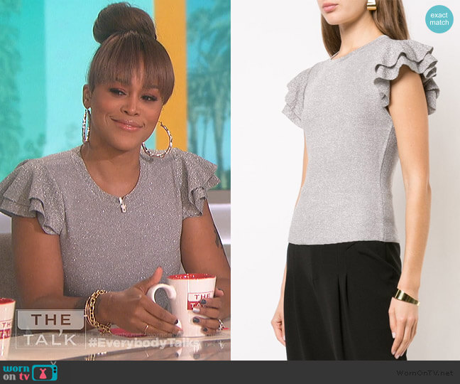 ruffle sleeve top by Alice + Olivia worn by Eve  on The Talk