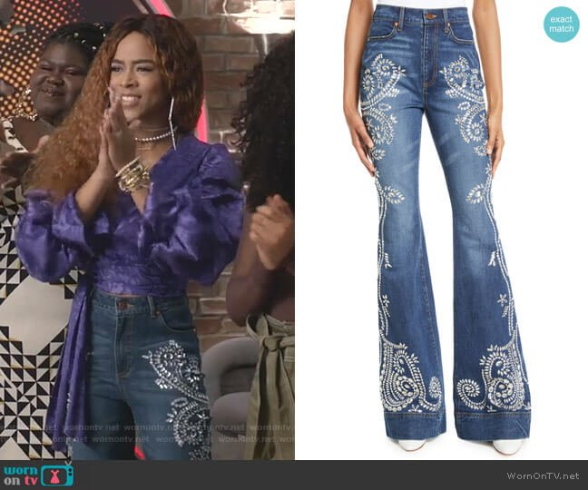 Beautiful Embellished High-Rise Jeans by Alice + Olivia Jeans worn by Tiana Brown (Serayah McNeill) on Empire