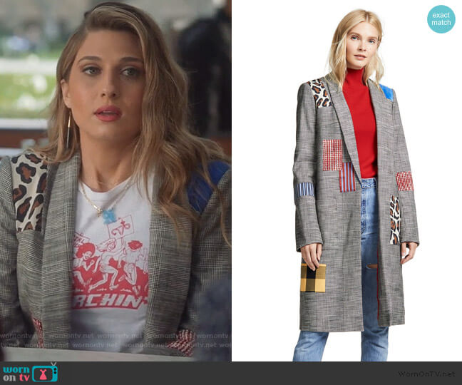 Kylie Patchwork Jacket by Alice + Olivia worn by Nomi Segal (Emily Arlook) on Grown-ish