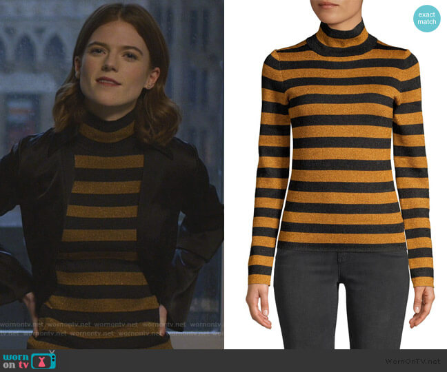 Roberta Metallic Stripe Turtleneck Top by Alice + Olivia worn by Maia Rindell (Rose Leslie) on The Good Fight