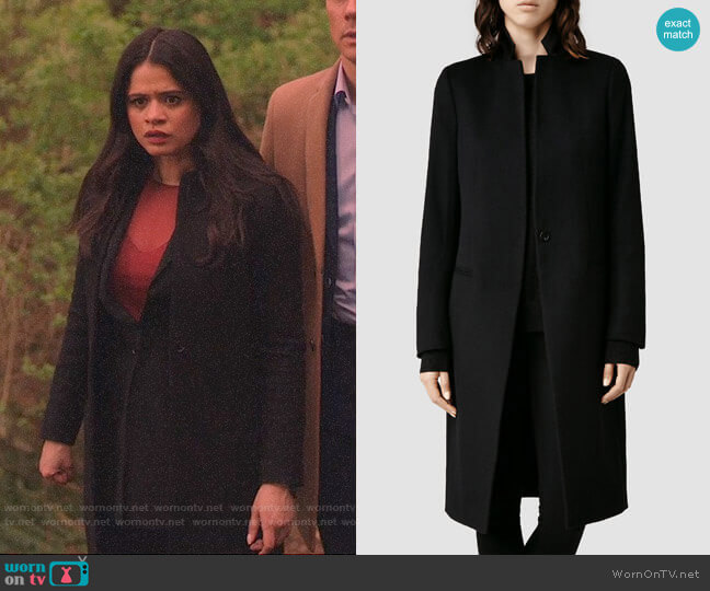 All Saints Eryn Coat worn by Mel Vera (Melonie Diaz) on Charmed