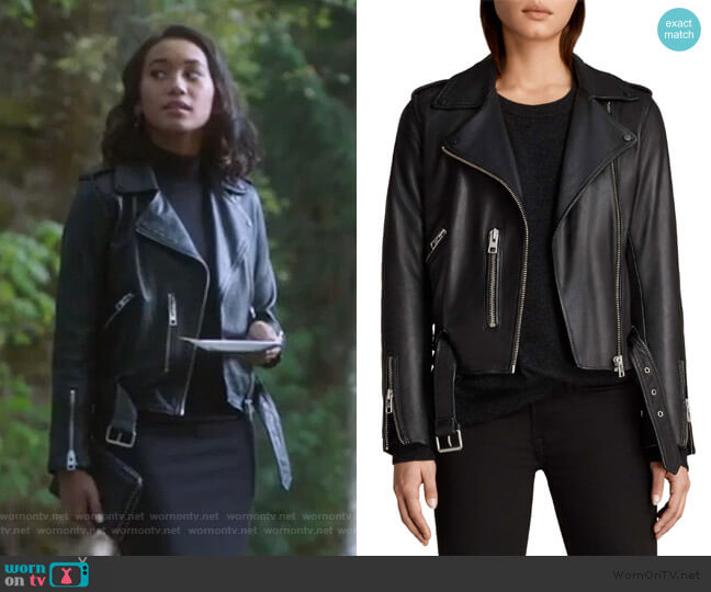 Balfern Leather Biker Jacket by All Saints worn by Caitlin Martell-Lewis (Sydney Park) on PLL The Perfectionists