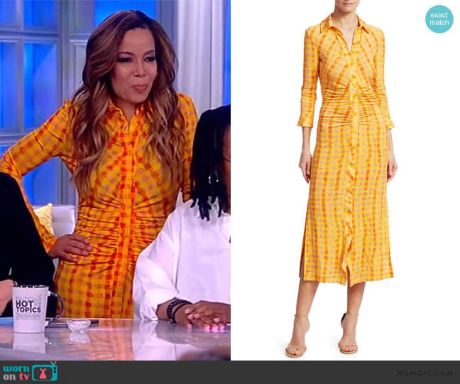 Ruched Gingham Midi Shirtdress by Altuzarra worn by Sunny Hostin (Sunny Hostin) on The View