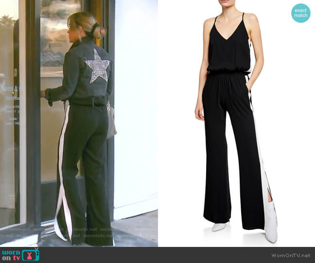 Side-Stripe Sleeveless Track Jumpsuit by Amanda Uprichard worn by Teddi Mellencamp Arroyave  on The Real Housewives of Beverly Hills