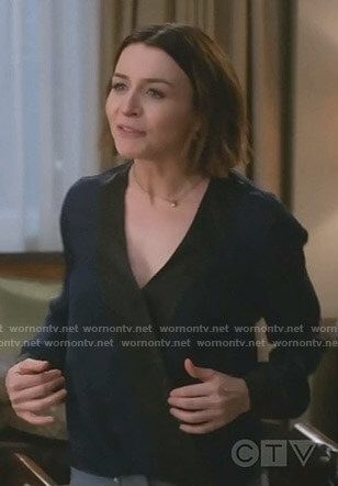 Amelia's two-tone wrap top on Grey's Anatomy